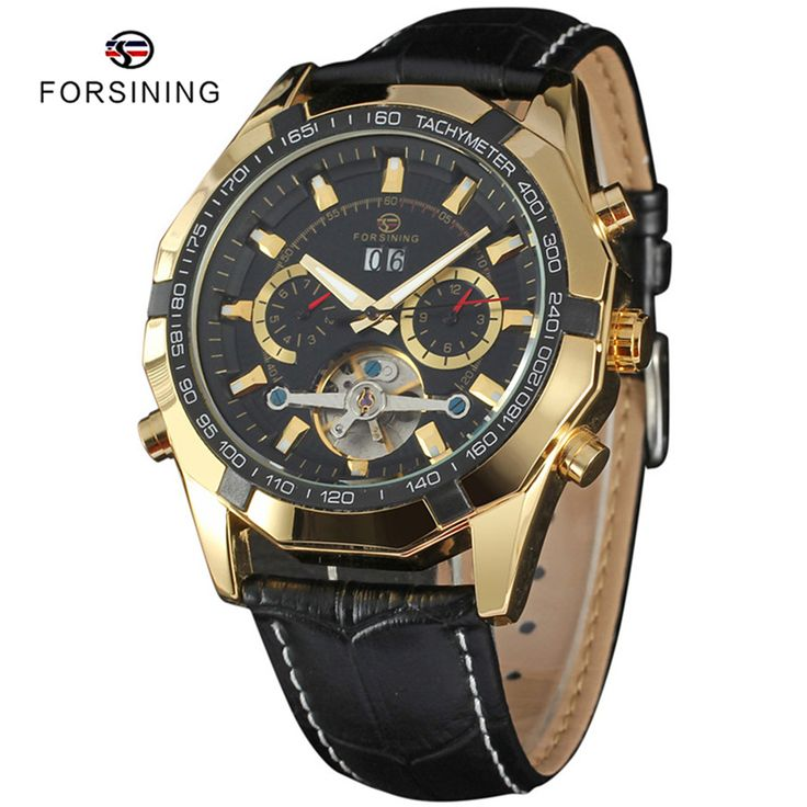 Find More Sports Watches Information about 8 Colors FORSINING Brand Luxury Gold Mens Automatic Watch Relojes Leather Men Tourbillon Mechanical Clock Relogio Masculinos,High Quality clock safe,China watch clock parts Suppliers, Cheap clock synthesizer from YIKOO Watches Store on Aliexpress.com