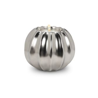 RIBBED BALL TEALITE The elegant, soft shine of our 27-LOUVRE collection will delight anyone who loves silver and gold at Christmastime. These beautiful vases, platters, and ball décor items are perfect for holiday décor this season.    #960660 $12.99 www.lambertpaint.com