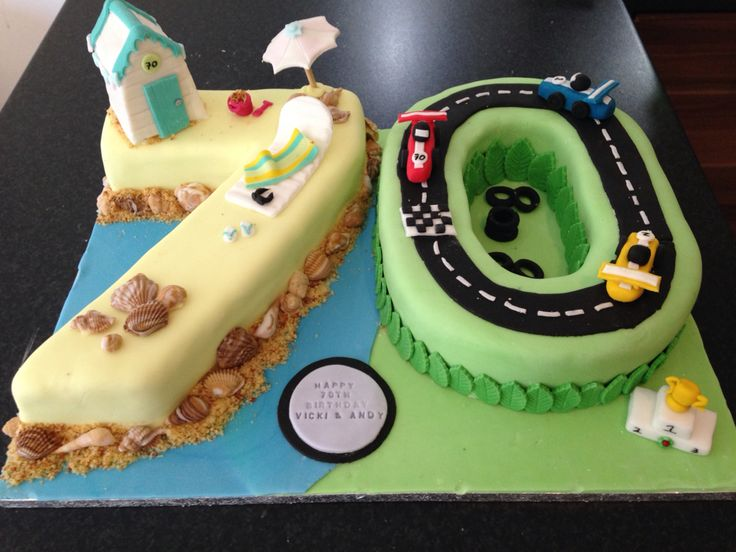 Beach and racing cake for twins.