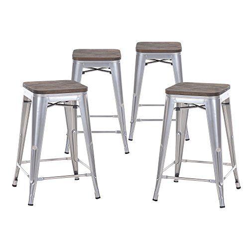 Buschman Set Of Four Gray Wooden Seat 24 Inches Counter H Https Www Amazon Com Dp B01kzaf144 R Taburetes De Bar Metalicos Taburetes De Bar Bancos Para Bar