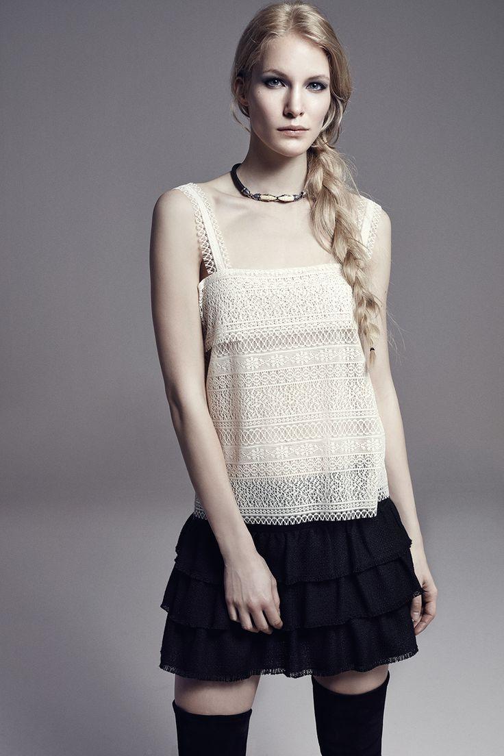COCO - Lace Top w/Straps FERGUS - Layered Lace Mini Skirt w/Metallic Silver Print