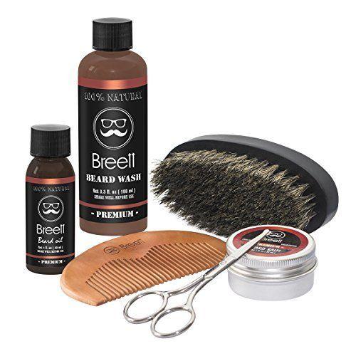 Breett huile à barbe kit 6 pcs,Huile à barbe naturel, d'une Pommade à barbe, Lavage de la barbe, Un ciseaux à barbe acier inoxydable, Un…
