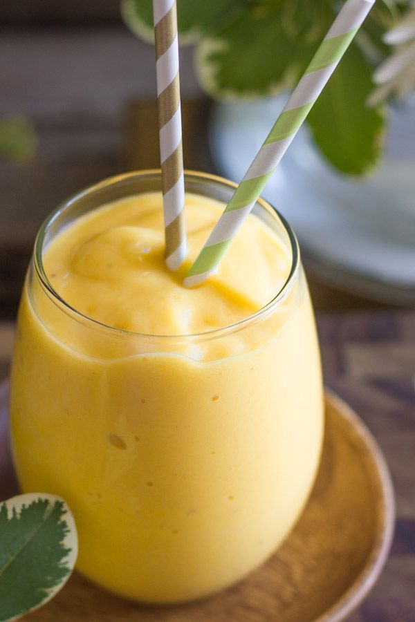Tropical Sunshine Smoothie - Mangos, pineapple, bananas, orange juice, and a tiny taste of coconut!