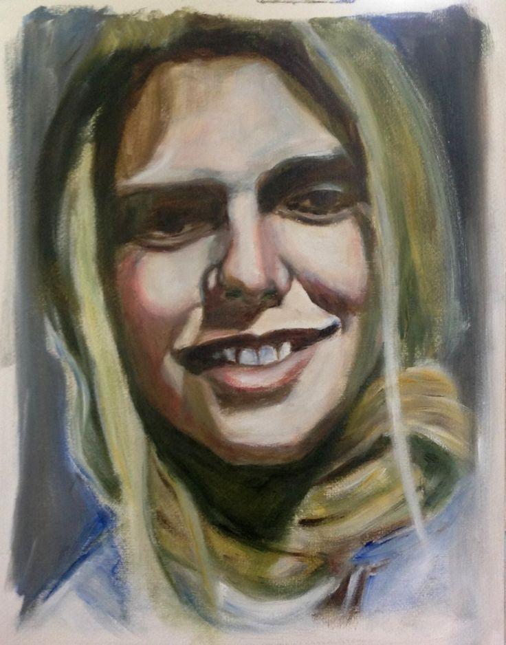 Tiffany Ferguson, Californian vlogger, acrylic on paper 50x40