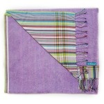 Lilac towelling with beautiful pastel pink and lilac rainbow striped cotton 'kikoy' backing.