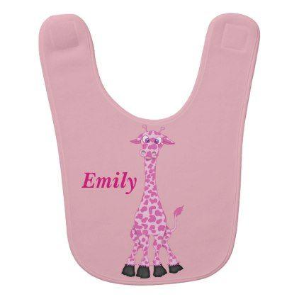 #Kid's Cute Pink Giraffe Baby Bib - #cute #gifts #cool #giftideas #custom