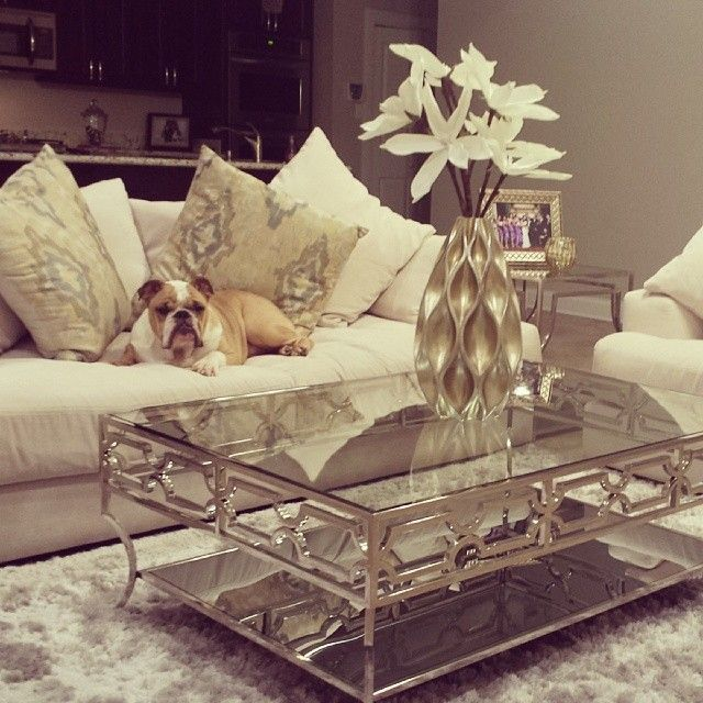 @Kaellyn Marrs Diaz's bulldog Rocky looks regal & relaxed on our Stella Sofa. Photo features our Abigail Coffee & End Table, Sequence Vase, Magnolia Stem, & Raj Pillows.