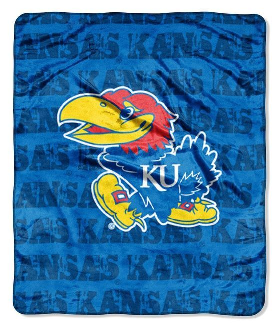 Kansas Jayhawks Blanket 46x60 Raschel Grunge Design Z157-8791848231