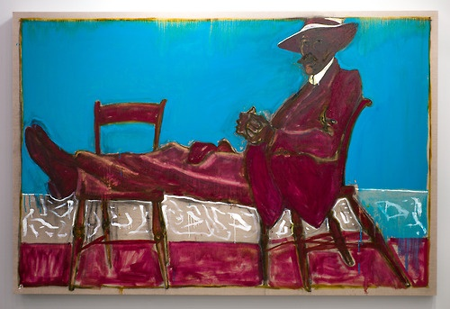WGSN Menswear live from Frieze London with this Billy Childish piece called Man on Chairs at the Lehmann Maupin stand. There's something of a self-portrait feel about this large-scale oil in an incredible shade of violet by the British outsider artist.