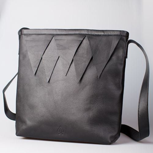 Fortress Bag from Little Ghost.   Black leather handbag with triangle detail. #FortressBag #triangles #littleghost #kingdomofhera Kingdom of Hera Collection