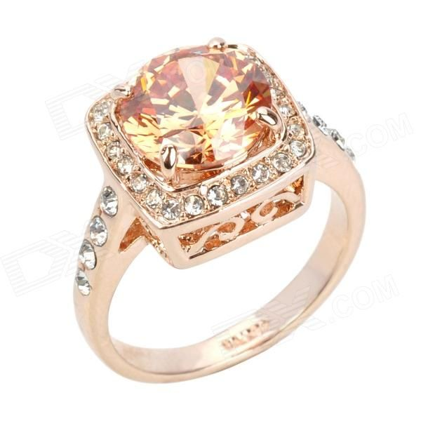 KCCHSTAR Delicate Cube Shaped Design 18K Gold Plated Alloy Shining Crystal Ring - Golden + Amber - Free Shipping - DealExtreme