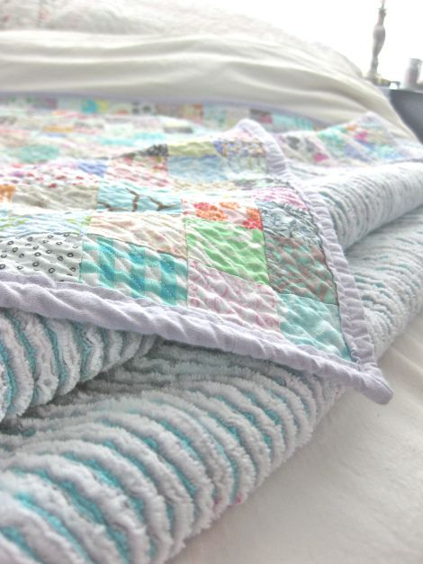 Faux Chenille Quilt--soft, cuddly, and warm.  Made with quilt top, back, and 3 layers of flannel.