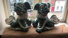 Muy Grande Foo perros chinos Celadon Esmaltado