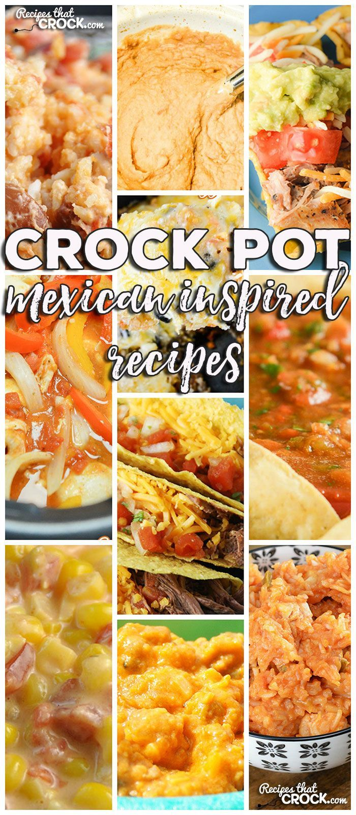 This week for our Friday Favorites we have some yummy Crock Pot Mexican Inspired Recipes like Crock Pot Fiesta Cheesy Corn, Crock Pot Nacho Chicken Rice, Crock Pot Mexican Cheesy Rice, Crock Pot Refried Beans, Crock Pot Pork Carnitas, Crock Pot Chicken Fajitas, Crock Pot Steak Tacos, Crock Pot Mexican Rice Veggie Bake, Crock Pot Chicken Enchilada Rollups, Crock Pot Taquito Bar, Homemade Crock Pot Salsa and Crock Pot Fiesta Cheese Dip!