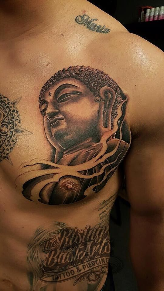#buddha #buddhatattoo #chesttattoo #chest #tattoo #blackandgrey #blackandwhite #realistic #nocopy @risingbastards