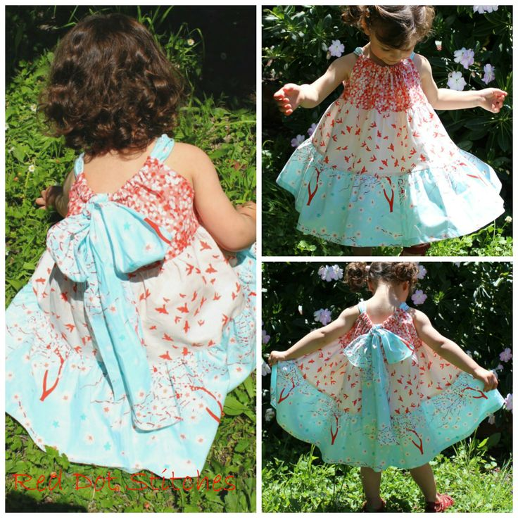 Gorgeous girl's summer dress, red dot stitches, size 1-10