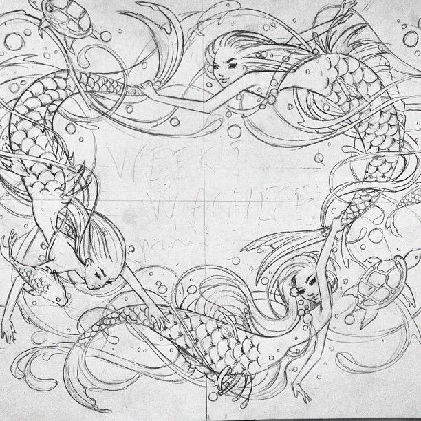 Working on a new #mermaid    drawing (Taken with Instagram)