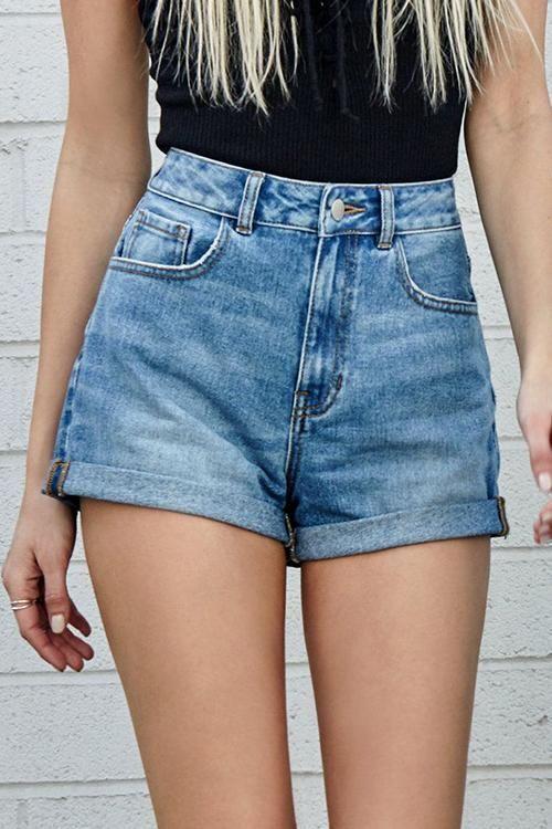 Classic Pocket High Waist Denim Shorts 2