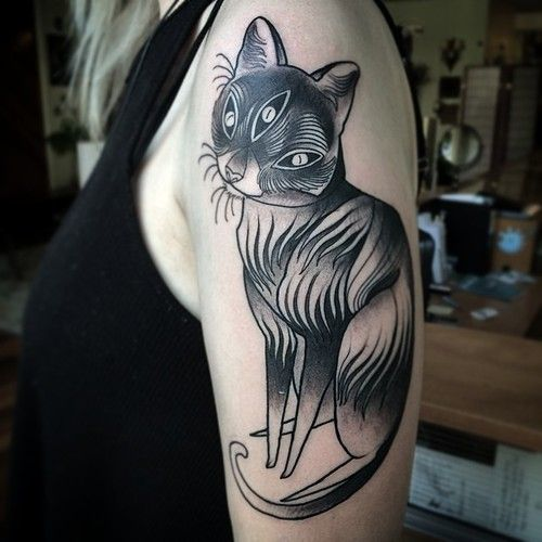 nomicheese:  Working on your day off sucks unless you're a tattoo artist. Then it's rad times. Thank you D! Love this meowface I got to make on your arm!  Nomi Chi