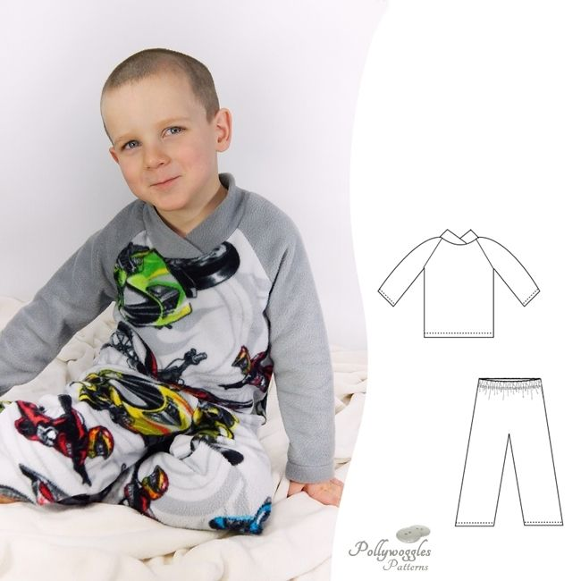 The Drew & Jesse PDF sewing pattern by Pollywoggles make cozy fleece pajamas or lounge wear for boys or girls.