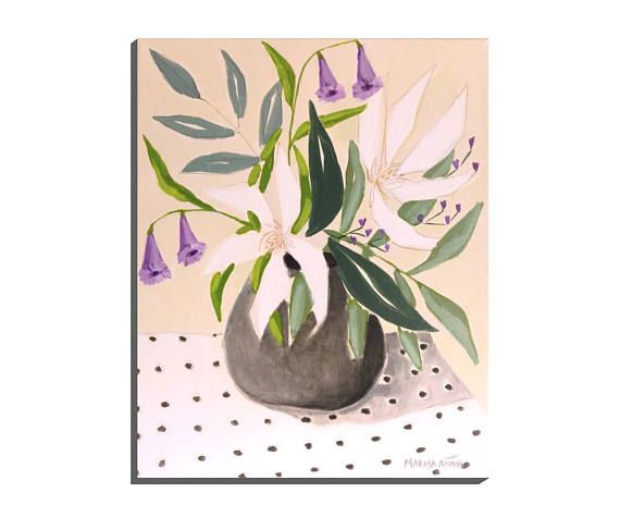Vase Flowers Flowers and Dots Original Floral