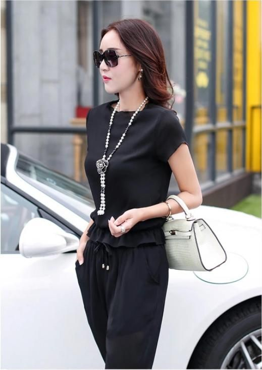 Japanese street fashion japanese fashion magazine japan store korean style chinese fashion trendy: Ol socialite two-piece short sleeve chiffon blouse cultivate one's morality show thin fashion tide of 7 minutes of pants define aesthetically pleasing face