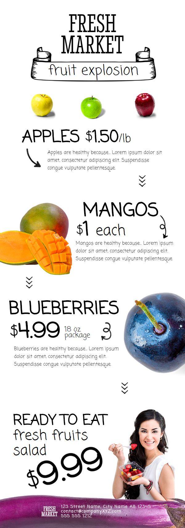 Fresh Market – free newsletter template on Behance