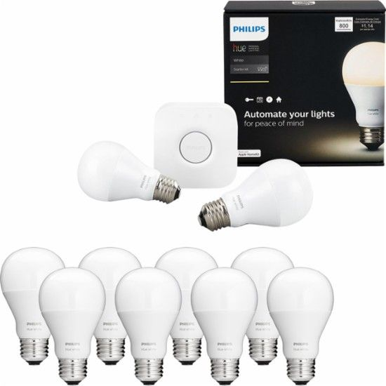 Philips Hue - A19 Starter Kit (Includes 2 Bulbs) and White