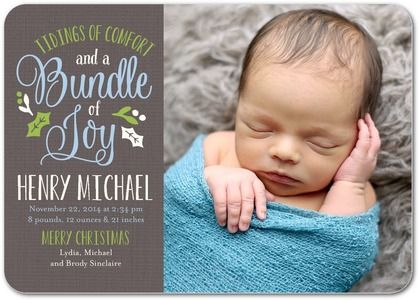 Blissful Bundle - Winter Boy Birth Announcements - Hello Little One - Light Blue - Blue : Front