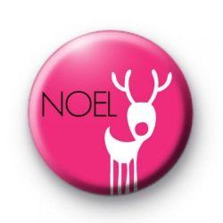 Bright Pink Noel Reindeer Badge Christmas xmas Button Badges