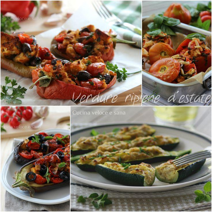 Verdure ripiene estive, una piccola raccolta per voi con le ricette di zucchine,melanzane e peperoni, che con i loro colori mi hanno ispirato molte ricette