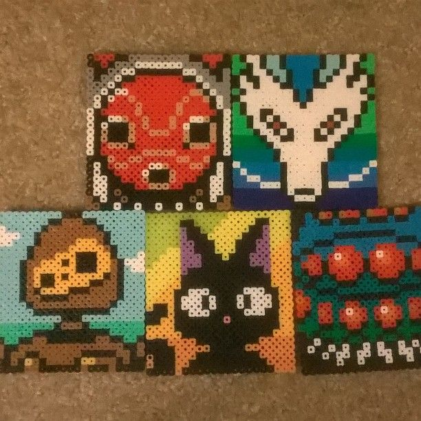 Studio Ghibli coaster set perler beads by broken_mononoke_art