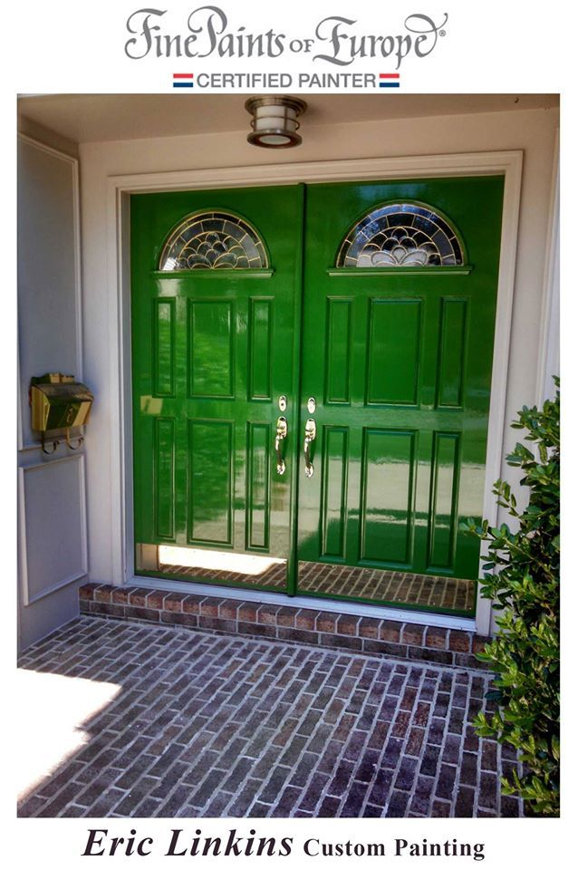 Bright green doors, High gloss front door, green front doors, Fine Paints of Europe Hollandlac Brilliant  by Eric Linkins Painting