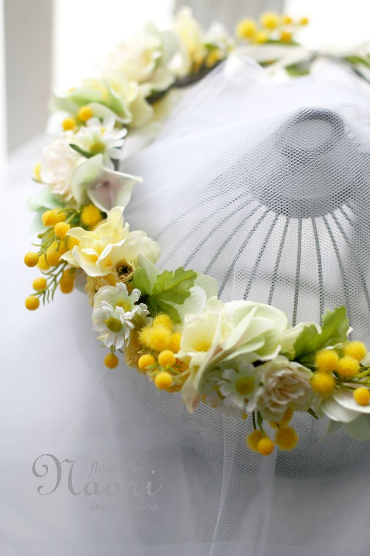 Mimosa Chamomile flower crown / Yellow Green ミモザとカモミールの花冠 イエロー×グリーン