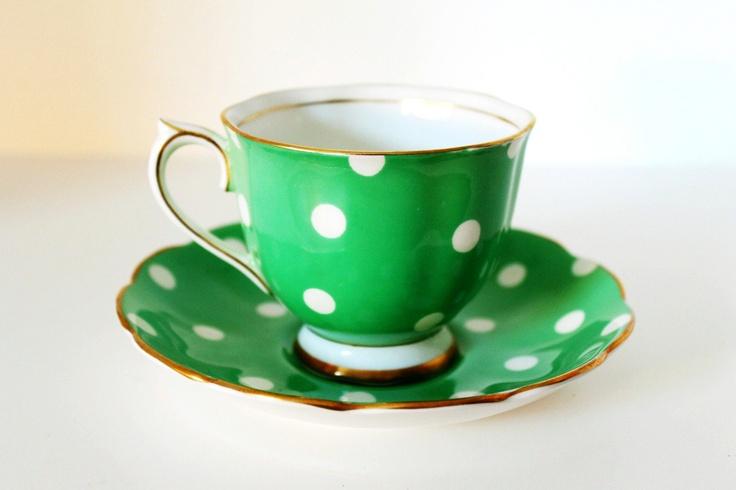Vintage Royal Albert Teacup & Saucer Green Polka Dot Bone China with Gilt Rim. $130.00, via Etsy.