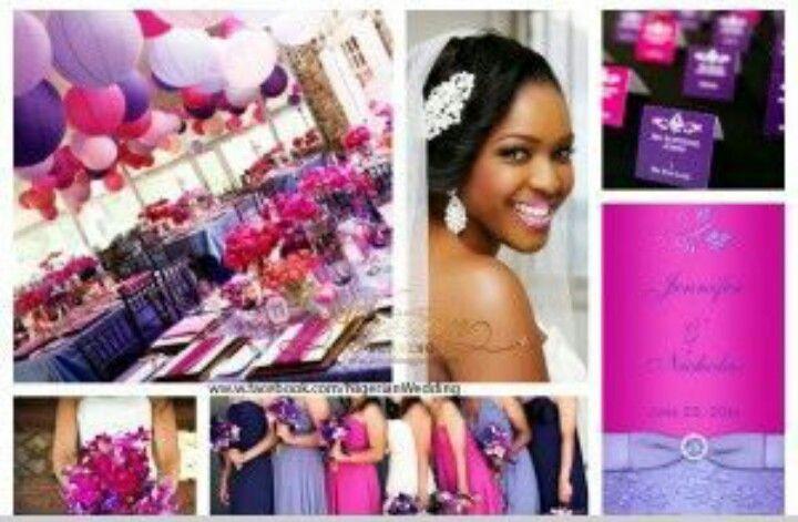 Purple and fuschia wedding decor; bride of colour; black bride
