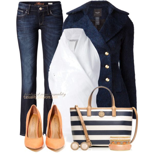 """""""Striped Nautical MK Tote & Peach"""" by casuality on Polyvore so in love with that MK tote ❤❤❤"""