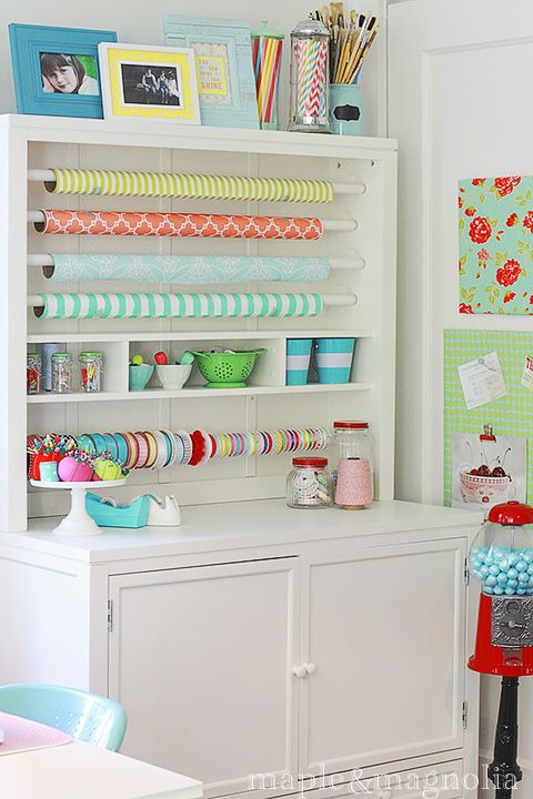 Cute wrapping nook in Maple & Magnolia's colorful sewing studio.