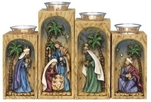 Set of 4 Inspirational Religious Nativity Christmas Votive Candle Holders by Roman. $40.00. Save 11% Off!