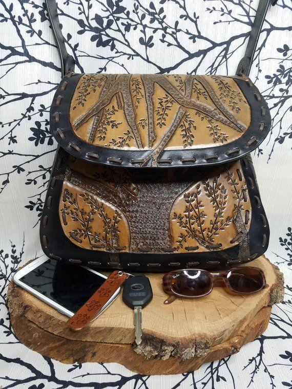 hand-painted Tree Custom woman leather handbag