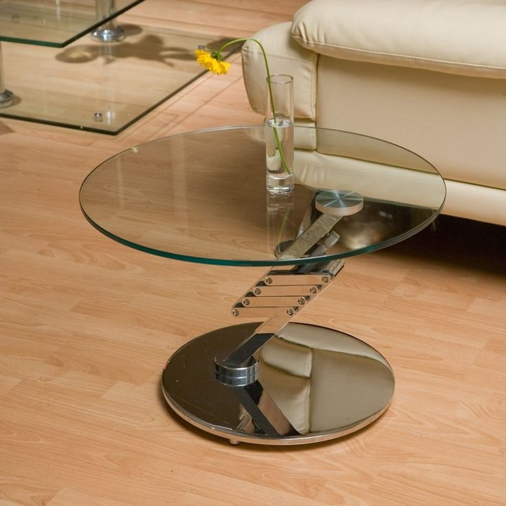 Chic Height Coffee Table Design Idea Round Transparent Solid Glass Table  Top Polished Chrome Solid Adjustable - 25+ Best Ideas About Adjustable Height Coffee Table On Pinterest