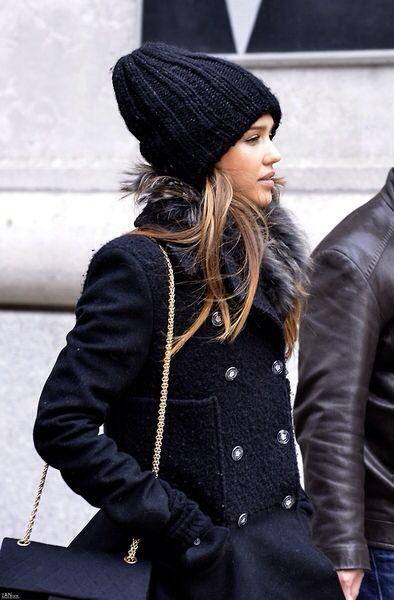 Jessica Alba in all black.
