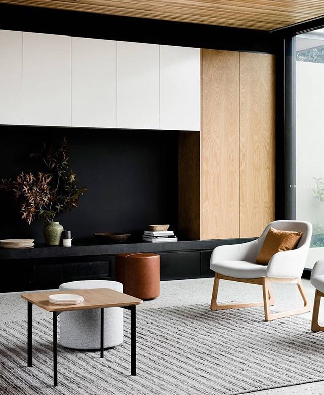 Tan leather, light grey wool & Rollo Ottomans styled together in this Templestowe House by Ruth Welsh and designed by @figr_architecture #australianarchitecture #australiandesign Lori Blachford