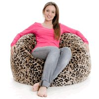Leopard print giant bean bag made from faux fur read the review here http://adultsgiantbeanbagchairs.bravesites.com/giant-bean-bag-fur