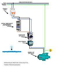 Electricistas de Lleida, Esquemas eléctricos: Arraque motor con digital timer programable