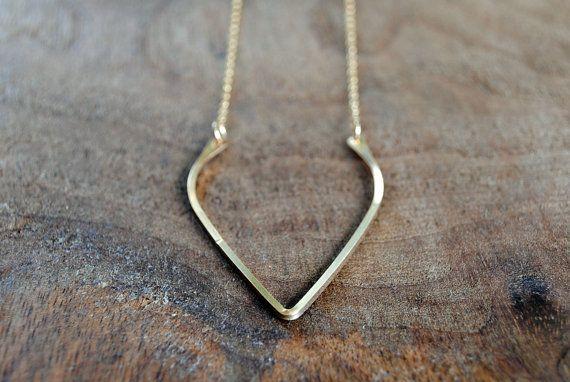 Gold Wishbone Necklace by TiffanyAnneStudios