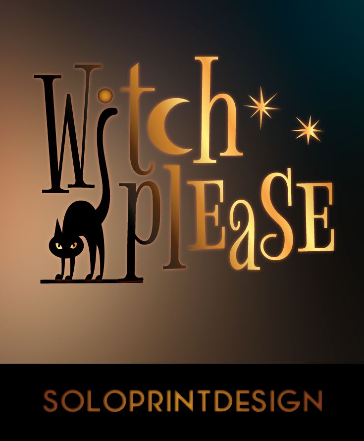 """Halloween SVG cut file """"Witch Please"""" svg. Vector halloween clip art witch svg, cat svg, stars svg, halloween glitter clipart. It is cuttable - svg file for Cricut and Silhouette dxf. It's also printable - suits for home custom printers - png, pdf files."""