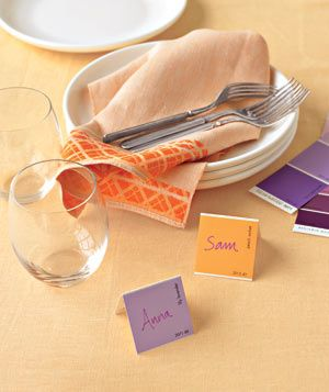 paint chip cards as place cards