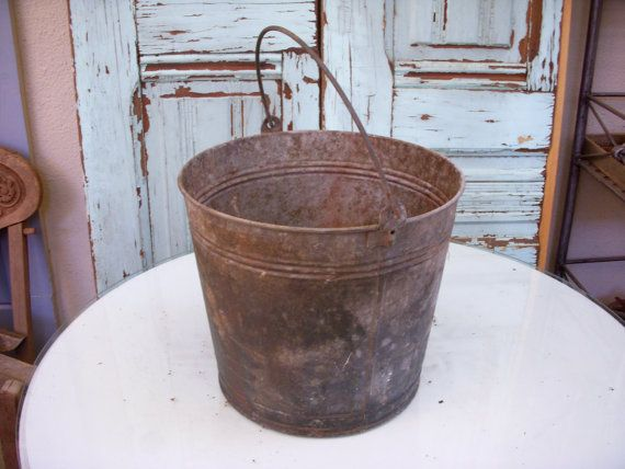 107 best rusty galvanized images on pinterest gardening for Rustic galvanized buckets