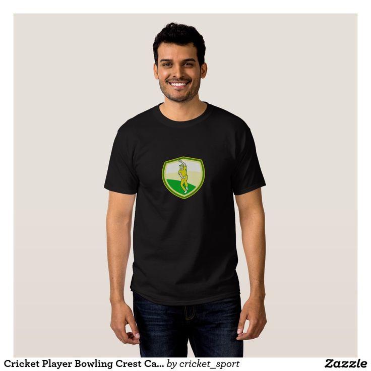 Cricket Player Bowling Crest Cartoon Shirt. Cricket World Cup men's t-shirt with an illustration of a cricket player fast bowler bowling with cricket ball set inside shield crest viewed from front done in cartoon style. #cricket #cricketworldcup #t20worldcup #worldtwenty20 #t20worldcup2016